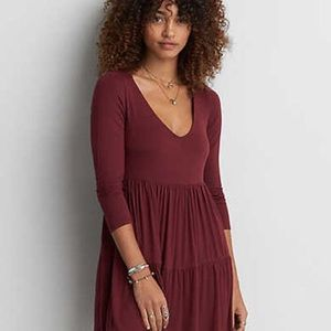AMERICAN EAGLE Tiered Babydoll Dress Maroon Red